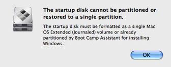 BootCampのエラーメッセージ