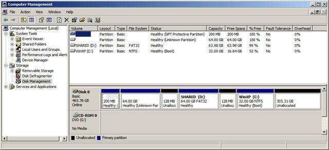 Windowsの管理ツールでハードディスクのパーティションを確認してみる