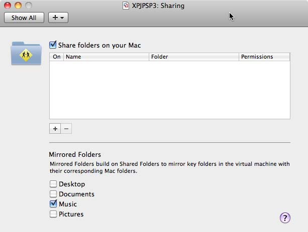VMWare Music Folder Settings