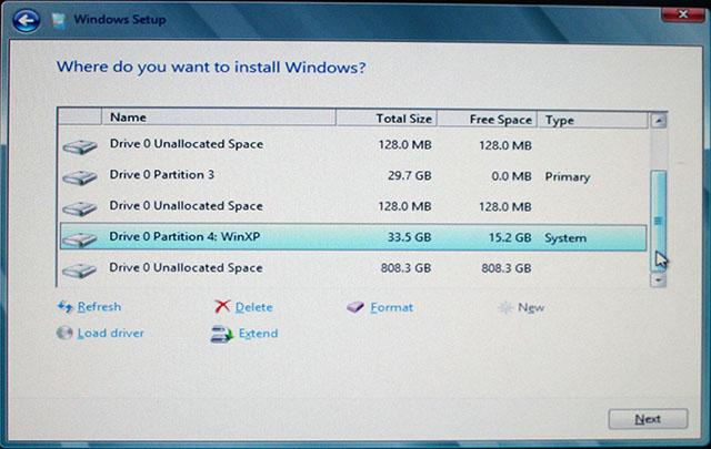 Windows 8 CP インストーラ パーティション設定