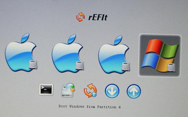 rEFIt のブートセレクタ画面