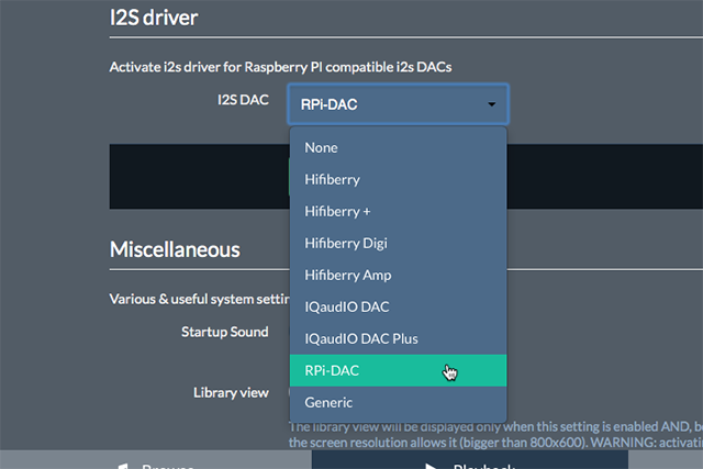 I2Sdriver にRPI-DACを指定してみるが...