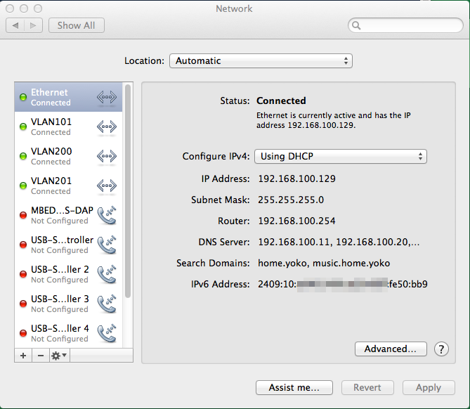 Mac OSX Network Settings