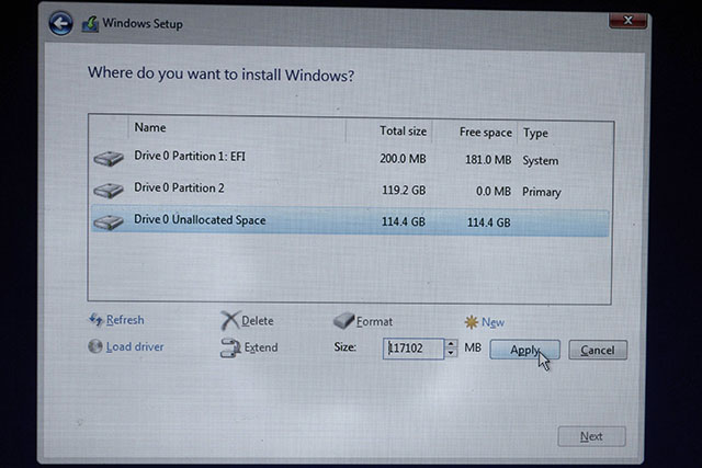 Set Partition Size