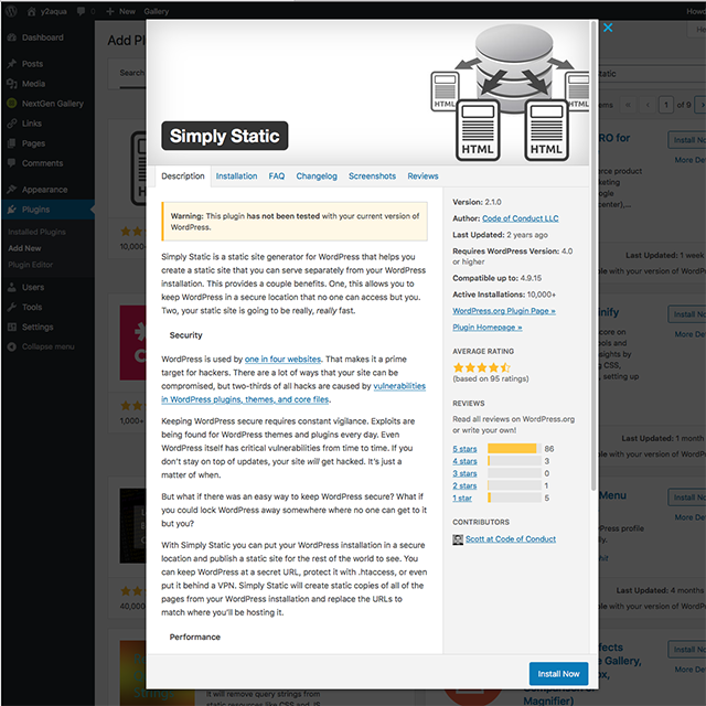 Installing a Simply Static WP Plugin