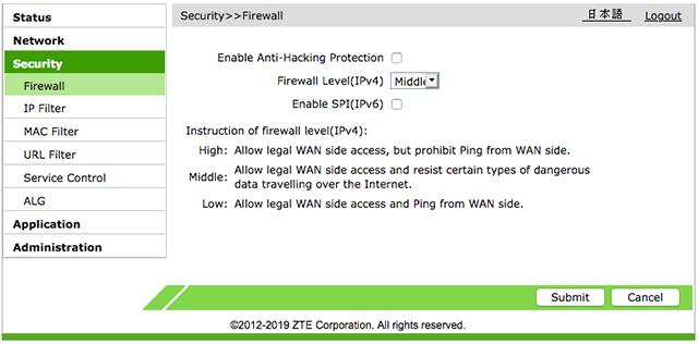 F660A Firewall Settings