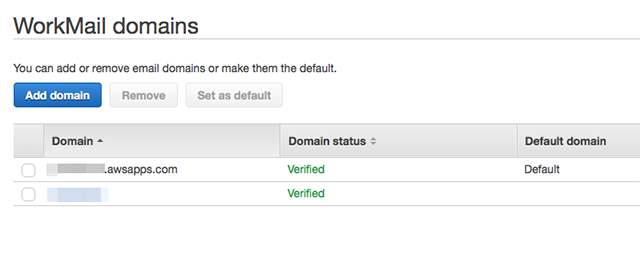 WorkMail domains