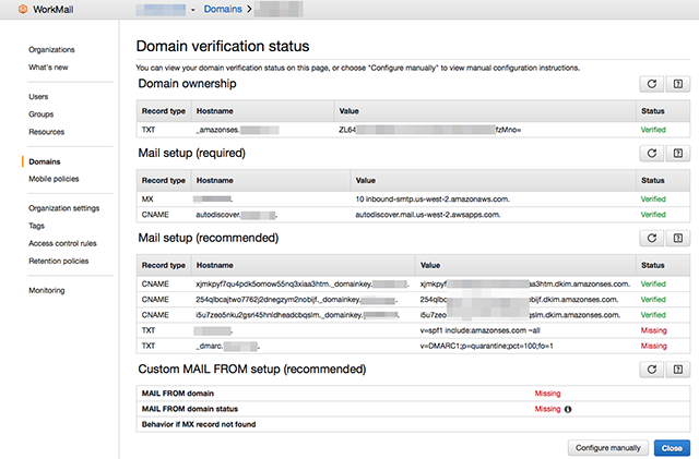 WorkMail DNS Records