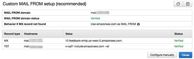 Custom MAIL FROM domain