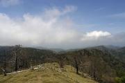大峯の山々は雲の中