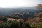 夕日に染まる吉野の山並み