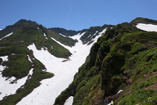 新山(左)と七高山(右)